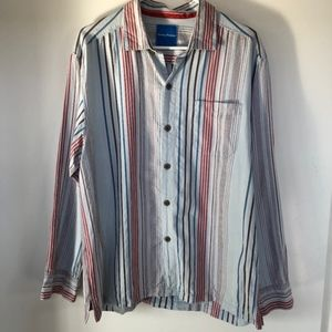 Tommy Bahama Striped Button Up Silk Shirt - (D7)